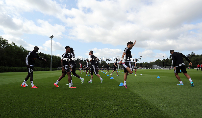 Thursday 09 July 2015<br /> Pictured: Players warming up<br /> Re: Swansea City FC pre-season training at Landore training ground, Swansea, south Wales, UK.