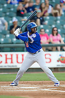 Oklahoma City Dodgers first baseman O'Koyea Dickson (23) at bat during the Pacific Coast League baseball game against the Round Rock Express on June 9, 2015 at the Dell Diamond in Round Rock, Texas. The Dodgers defeated the Express 6-3. (Andrew Woolley/Four Seam Images)