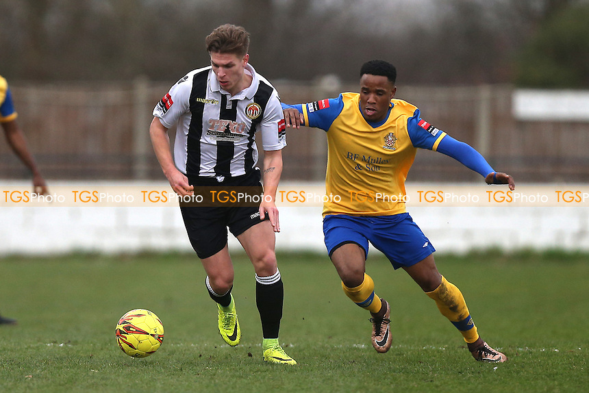 Harry Morgan of Heybridge and Abs Thompson of Hornchurch during Heybridge Swifts vs AFC Hornchurch, Ryman League Division 1 North Football at The Texo Stadium, Scraley Road on 25th February 2017