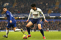 Eden Hazard of Chelsea and Son Heung-Min of Tottenham Hotspur during Chelsea vs Tottenham Hotspur, Premier League Football at Stamford Bridge on 27th February 2019