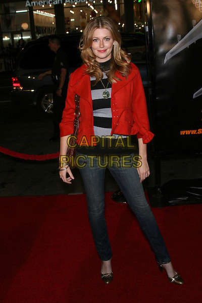 """DIORA BAIRD.New Line Cinema's Premiere of """"Snakes On A Plane"""" - Arrivals held at Grauman's Chinese Theatre, Hollywood, California, USA..August 17th, 2006.Ref: ADM/ZL.full length black skinny jeans denim red jacket striped stripes.www.capitalpictures.com.sales@capitalpictures.com.©Zach Lipp/AdMedia/Capital Pictures."""