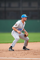 Hudson Valley Renegades third baseman Jim Haley (38) during a game against the Batavia Muckdogs on July 31, 2016 at Dwyer Stadium in Batavia, New York.  Hudson Valley defeated Batavia 4-1.  (Mike Janes/Four Seam Images)