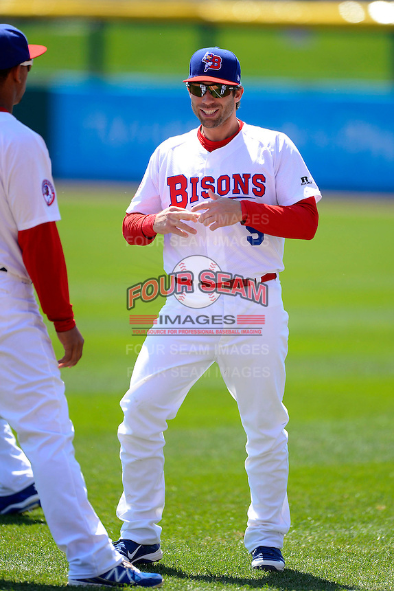 Buffalo Bisons second baseman Jim Negrych #5 during warmups before the first game of a doubleheader against the Pawtucket Red Sox on April 25, 2013 at Coca-Cola Field in Buffalo, New York.  Pawtucket defeated Buffalo 8-3.  (Mike Janes/Four Seam Images)