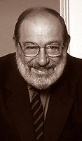 2004. Umberto Eco, renowned Italian semiotician, philosopher, linguist, bibliophile, novelist, essayist and Professor. Mr Eco becomes very popular on the world literary scene with his books 'In the name of the rose' ('In nome della rosa'). © Leonardo Cendamo