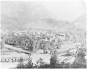 Panorama of Ouray from northwest.  Mule teams loading/unloading boxcars.<br /> D&amp;RGW  Ouray, CO