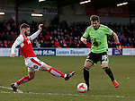 Dean Hammond of Sheffield Utd tackled by Jimmy Ryan of Fleetwood Town  - English League One - Fleetwood Town vs Sheffield Utd - Highbury Stadium - Fleetwood - England - 5rd March 2016 - Picture Simon Bellis/Sportimage