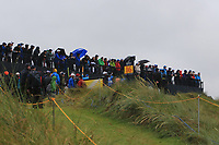 "A crowd at ""Calamity"" the 16th during the preview of the the 148th Open Championship, Portrush golf club, Portrush, Antrim, Northern Ireland. 17/07/2019.<br /> Picture Thos Caffrey / Golffile.ie<br /> <br /> All photo usage must carry mandatory copyright credit (© Golffile 