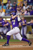 LSU Tigers first base Mason Katz #8 follows through on his swing against the Auburn Tigers in the NCAA baseball game on March 23, 2013 at Alex Box Stadium in Baton Rouge, Louisiana. LSU defeated Auburn 5-1. (Andrew Woolley/Four Seam Images).