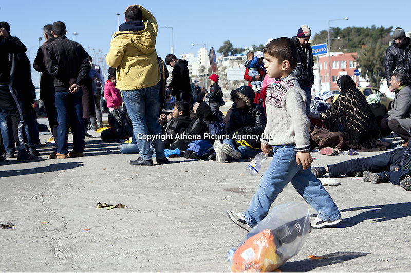 Pictured: Migrants' children at the port Monday 22 February 2016<br /> Re: Thousands of migrants, most from Syria, have landed to the port of Pireaus, after crossing the border from Turkey to various islands like Lesvos and Kos in Greece.