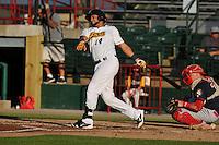 Burlington Bees Michael Hermosillo (4) swings during the Midwest League game against the Peoria Chiefs at Community Field on June 8, 2016 in Burlington, Iowa.  Burlington won 4-2.  (Dennis Hubbard/Four Seam Images)