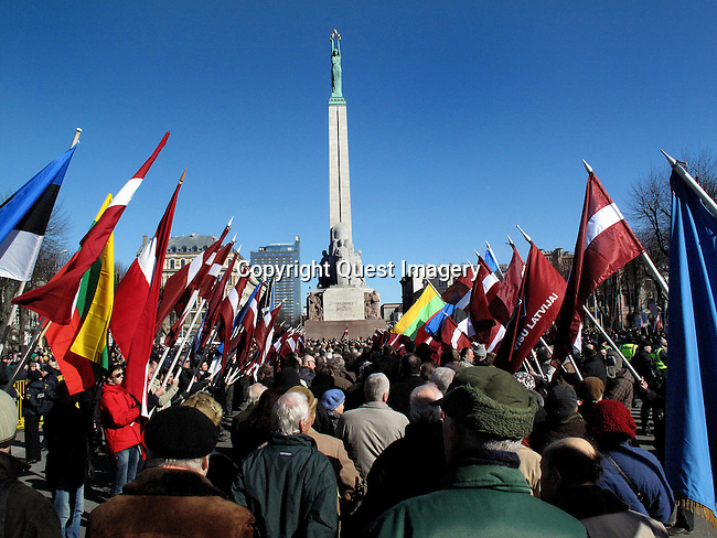 Latvians pay tribute to soldiers who fought in Nazi Germany's Waffen SS divisions, while nearby Russians held a counter protest to recall war crimes committed against Jews and other minorities.  <br />