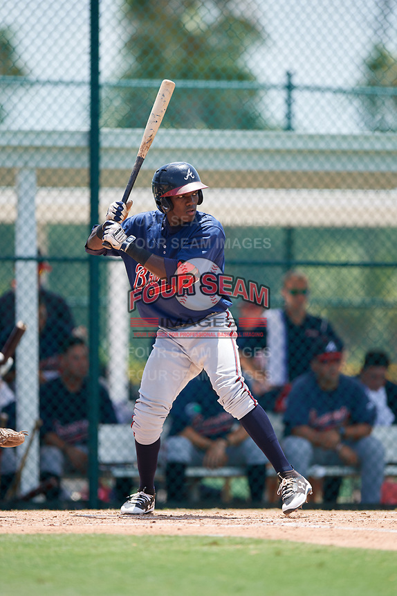 GCL Braves third baseman Jean Carlos Encarnacion (25) at bat during a game against the GCL Pirates on July 26, 2017 at Pirate City in Bradenton, Florida.  GCL Braves defeated the GCL Pirates 12-5.  (Mike Janes/Four Seam Images)