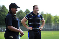 Henry Thomas of Bath Rugby speaks to young supporters. Bath Rugby Family Festival of Rugby, on August 8, 2015 at the Recreation Ground in Bath, England. Photo by: Patrick Khachfe / Onside Images