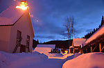 Barkerville Historic Site, Streetscape at night, winter