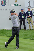 Adam Scott (AUS) watches his tee shot on 1 during round 2 Four-Ball of the 2017 President's Cup, Liberty National Golf Club, Jersey City, New Jersey, USA. 9/29/2017.<br /> Picture: Golffile | Ken Murray<br /> <br /> All photo usage must carry mandatory copyright credit (&copy; Golffile | Ken Murray)