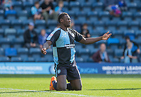 Aaron Pierre of Wycombe Wanderers questions a decision during the Sky Bet League 2 match between Wycombe Wanderers and Plymouth Argyle at Adams Park, High Wycombe, England on 12 September 2015. Photo by Andy Rowland.