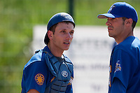 24 May 2009: Alex Malihoudis of Senart talks to Matthieu Brelle Andrade during the 2009 challenge de France, a tournament with the best French baseball teams - all eight elite league clubs - to determine a spot in the European Cup next year, at Montpellier, France. Senart wins 8-5 over La Guerche.
