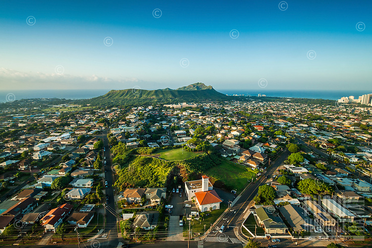 An aerial view of the Kaimuki neighborhood including the fire station and Diamond Head, O'ahu.