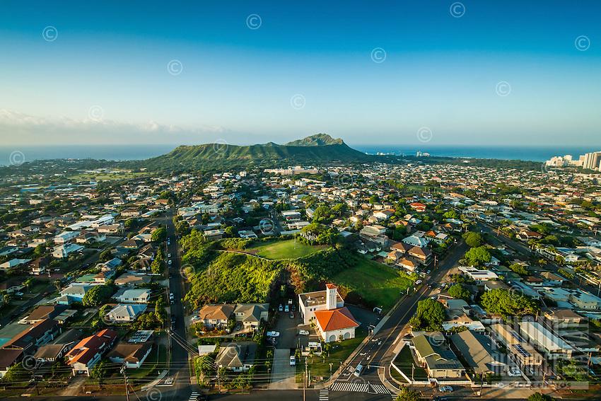 An aerial view of the Kaimuki neighborhood including the fire station and Diamond Head, O'ahu.