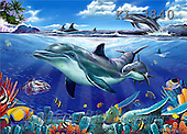Interlitho, Lorenzo, REALISTIC ANIMALS, paintings, dolphins, fish(KL3840,#A#) realistische Tiere, realista, illustrations, pinturas ,puzzles