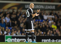 Richard Almeida of Qarabag FK after he scores his early penalty to put Qarabag ahead during the UEFA Europa League match between Tottenham Hotspur and Qarabag FK at White Hart Lane, London, England on 17 September 2015. Photo by Andy Rowland.