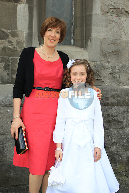 Aifric Lydon and Clare Lydon.at Scoile Fatima First Communion in St Marys Church..Picture  www.newsfile.ie..