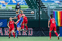 Boston, MA - Sunday September 10, 2017: Amandine Henry, Natasha Dowie and Emily Sonnett during a regular season National Women's Soccer League (NWSL) match between the Boston Breakers and Portland Thorns FC at Jordan Field.
