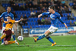 St Johnstone v Motherwell....31.10.14   SPFL<br /> Michael O'Halloran scores his scond goal to make it 2-1<br /> Picture by Graeme Hart.<br /> Copyright Perthshire Picture Agency<br /> Tel: 01738 623350  Mobile: 07990 594431