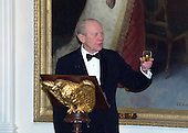 Former United States President Gerald R. Ford proposes a toast at the 200th Anniversary of the White House Dinner in the East Room of the White House in Washington, D.C. on November 9, 2000. <br /> Credit: Ron Sachs / CNP