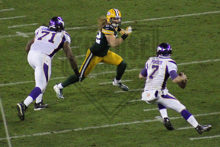 GREEN BAY - NOVEMBER 2011: Clay Matthews (52) of the Green Bay Packers during a game on November 14, 2011 at Lambeau Field in Green Bay, Wisconsin. (Photo by Brad Krause) ...