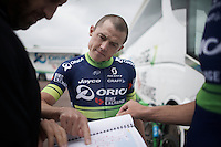 Simon Gerrans (AUS/Orica-BikeExchange) checking out the route ahead of a training ride<br /> <br /> New kits/colors for a new name sponsor as Team Orica-GreenEDGE changes into Team Orica-BikeExchange ahead of the 2016 Tour de France