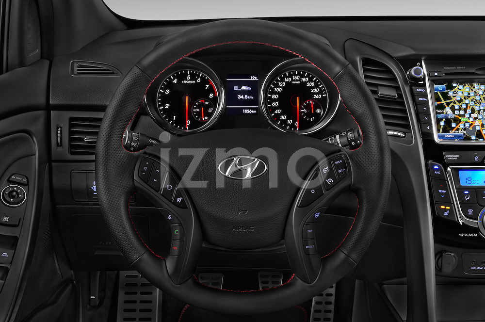 Car pictures of steering wheel view of a 2015 Hyundai I30 Turbo 5 Door Hatchback