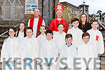 Meentogues NS  pupils with their teacher Corinna Favier and Bishop Ray Browne at their Confirmation in St Josephs Church Rathmore on Tuesday
