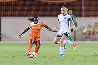 Houston, TX - Saturday July 08, 2017: Nichelle Prince passes the ball in front of Allie Long during a regular season National Women's Soccer League (NWSL) match between the Houston Dash and the Portland Thorns FC at BBVA Compass Stadium.