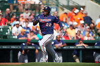 Minnesota Twins right fielder Miguel Sano (22) heads home to score a run during a Spring Training game against the Baltimore Orioles on March 7, 2016 at Ed Smith Stadium in Sarasota, Florida.  Minnesota defeated Baltimore 3-0.  (Mike Janes/Four Seam Images)