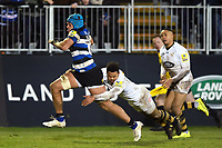 Zach Mercer of Bath Rugby goes on the attack. Aviva Premiership match, between Bath Rugby and Wasps on December 29, 2017 at the Recreation Ground in Bath, England. Photo by: Patrick Khachfe / Onside Images