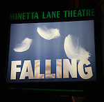 Theatre Marquee for the Off-Broadway Opening Night Performance Curtain Call for 'Falling' at Minetta Lane Theatre on October 15, 2012 in New York City.