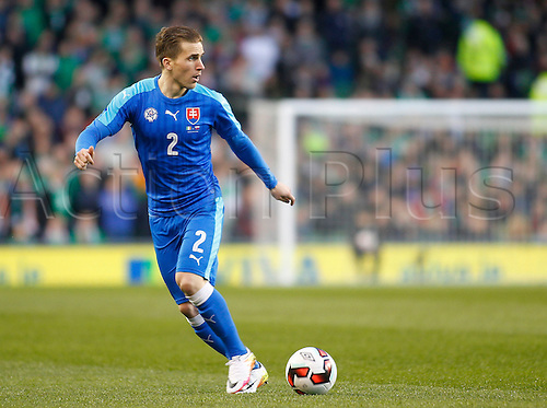 29.03.2016. Aviva Stadium, Dublin, Ireland.  International Football Friendly Ireland versus Slovakia. Peter Pekarik on the ball for Slovakia.