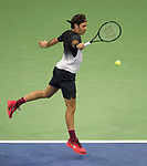 Roger Federer plays at the US Open being played on September  2, 2017 at Billy Jean King Ntional Tennis Center in Flushing, Queens, New York.  ©Leslie Billman/EQ