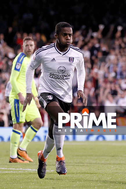 GOAL - Ryan Sessegnon of Fulham celebrates his goal during the Sky Bet Championship play off semi final 2nd leg match between Fulham and Derby County at Craven Cottage, London, England on 15 May 2018. Photo by Carlton Myrie / PRiME Media Images.