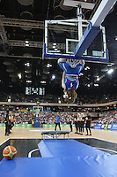 GB Mascot hangs from the basket during the EuroBasket 2015 2nd Qualifying Round Great Britain v Bosnia & Herzegovina (Euro Basket 2nd Qualifying Round) at Copper Box Arena in London. - 13/08/2014