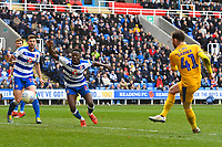 Joe Garner of Wigan Athletic scores the second goal during Reading vs Wigan Athletic, Sky Bet EFL Championship Football at the Madejski Stadium on 9th March 2019