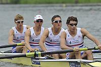 Amsterdam, NETHERLANDSS, GBR LM4-. Bow. Jonathan CLEGG, Jon PRESTON, William FLETCHER and Jamie KIRKWOOD..  2011 FISA U23 World Rowing Championships, {dow}, {date} [Mandatory credit:  Intersport Images].
