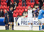 St Johnstone v Inverness Caley Thistle...02.05.15   SPFL<br /> Referee Andrew Dallas sends off David Raven<br /> Picture by Graeme Hart.<br /> Copyright Perthshire Picture Agency<br /> Tel: 01738 623350  Mobile: 07990 594431