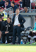 02 June 2013: Canadian National Women's Team head coach John Herdman watches the action during an International Friendly soccer match between the U.S. Women's National Soccer Team and the Canadian Women's National Soccer Team at BMO Field in Toronto, Ontario.<br /> The U.S. Women's National Team Won 3-0.