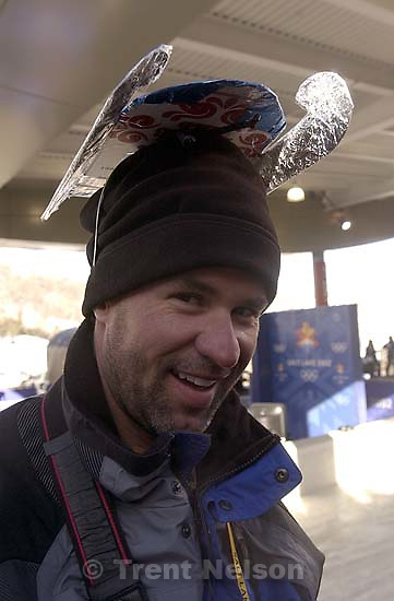 Jeff Allred with luge hat. Doubles Luge competition Friday morning at the Utah Olympic Park, 2002 Olympic Winter Games.&amp;#xA; 02.15.2002, 10:01:35 AM<br />