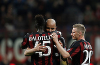 Calcio, Serie A: Milan vs Juventus. Milano, stadio San Siro, 9 aprile 2016. <br /> AC Milan&rsquo;s Alex, center, celebrates with teammates Mario Balotelli, left, and Ignazio Abate, after scoring during the Italian Serie A football match between AC Milan and Juventus at Milan's San Siro stadium, 9 April 2016.<br /> UPDATE IMAGES PRESS/Isabella Bonotto