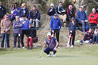Saturday 30th May 2015; Graeme McDowell, Northern Ireland, lines up his putt on the 5th green<br /> <br /> Dubai Duty Free Irish Open Golf Championship 2015, Round 3 County Down Golf Club, Co. Down. Picture credit: John Dickson / SPORTSFILE