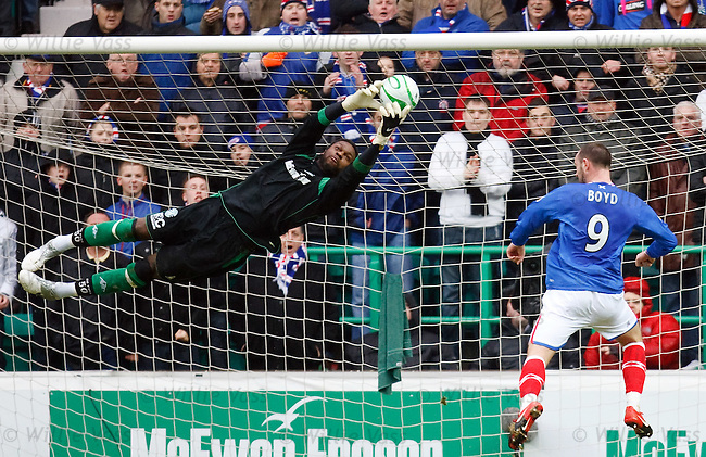 Yves Ma-Kalamby makes a mid air save to deny Kris Boyd