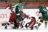 Kelsey Romatoski (Harvard - 5), Erica Dobos (Dartmouth - 14), Josephine Pucci (Harvard - 2), Jenna Hobeika (Dartmouth - 6) - The visiting Dartmouth College Big Green defeated the Harvard University Crimson 3-2 on Wednesday, November 23, 2011, at Bright Hockey Center in Cambridge, Massachusetts.